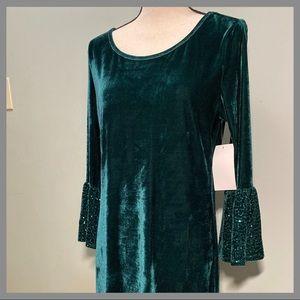 Magnolia Sky Green Velvet Bell Sequin Sleeve Dress